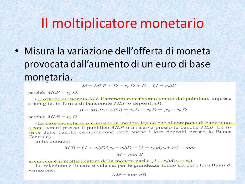 Il moltiplicatore monetario Misura la variazione dell'offerta di moneta provocata dall'aumento di un euro di base monetaria.