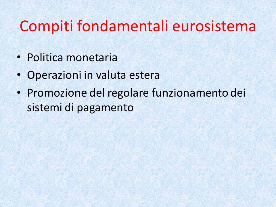Compiti fondamentali eurosistema Politica monetaria Operazioni in valuta estera Promozione del regolare funzionamento dei sistemi di pagamento