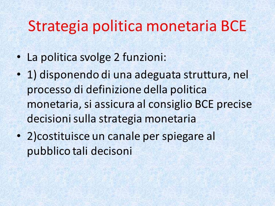 Strategia politica monetaria BCE La politica svolge 2 funzioni: 1) disponendo di una adeguata struttura, nel processo di definizione della politica monetaria, si assicura al consiglio BCE precise decisioni sulla strategia monetaria 2)costituisce un canale per spiegare al pubblico tali decisoni