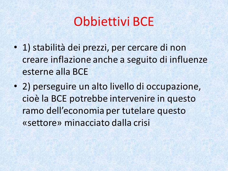 Obbiettivi BCE 1) stabilità dei prezzi, per cercare di non creare inflazione anche a seguito di influenze esterne alla BCE 2) perseguire un alto livello di occupazione, cioè la BCE potrebbe intervenire in questo ramo dell'economia per tutelare questo «settore» minacciato dalla crisi