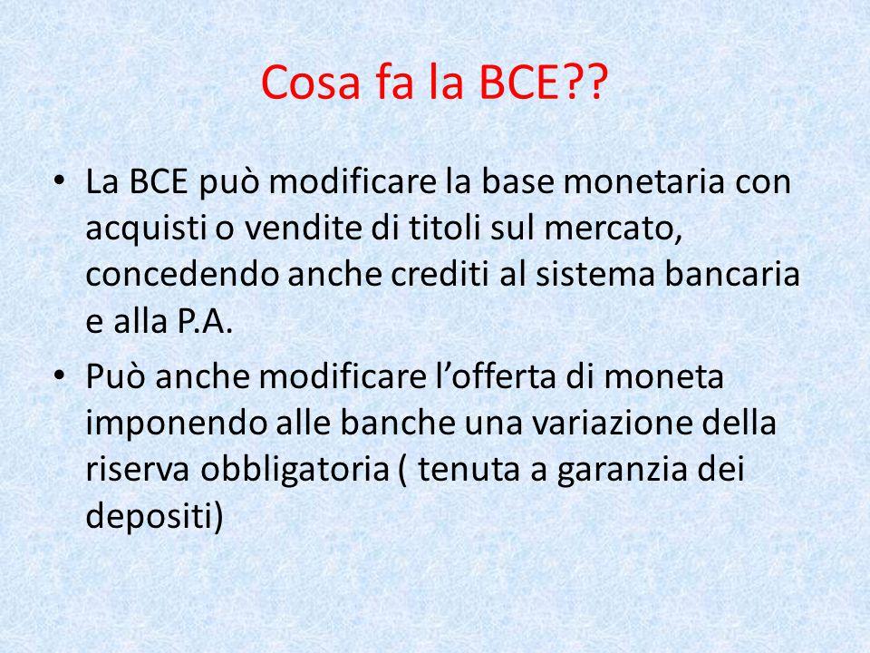 Cosa fa la BCE .