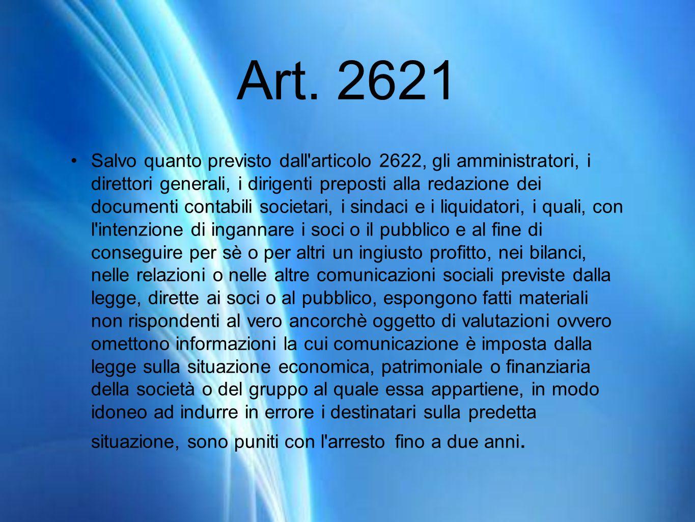 Art. 2621 Salvo quanto previsto dall'articolo 2622, gli amministratori, i direttori generali, i dirigenti preposti alla redazione dei documenti contab