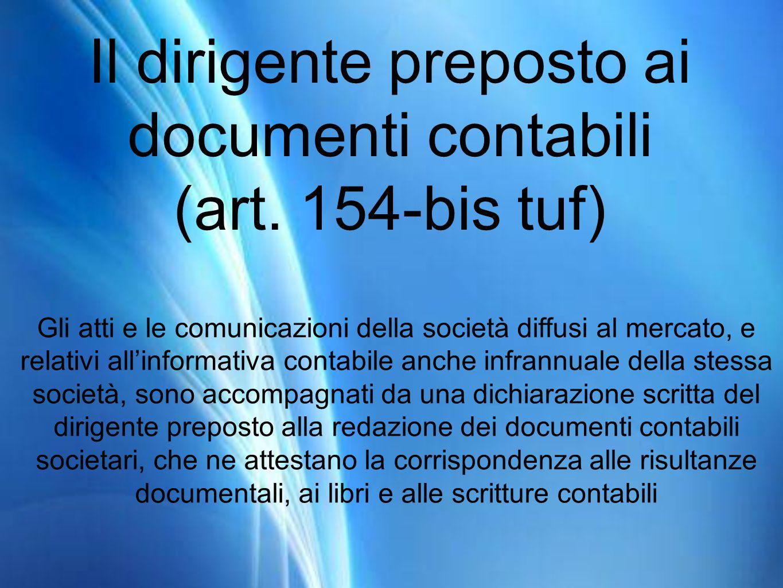 Il dirigente preposto ai documenti contabili (art.