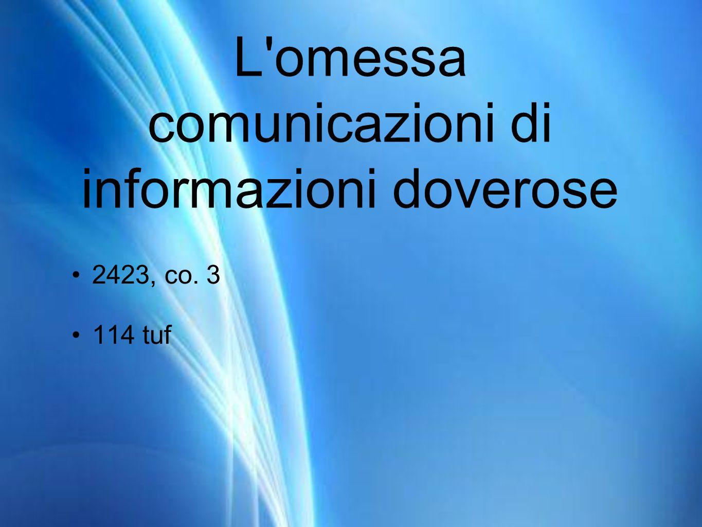 L omessa comunicazioni di informazioni doverose 2423, co. 3 114 tuf