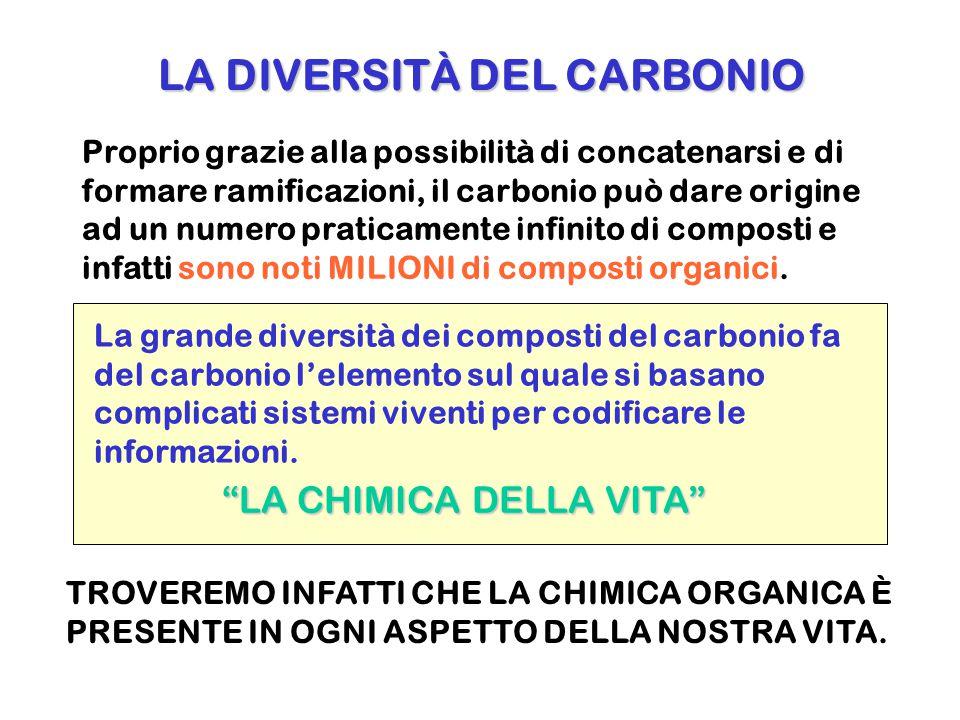 La grande diversità dei composti del carbonio fa del carbonio l'elemento sul quale si basano complicati sistemi viventi per codificare le informazioni