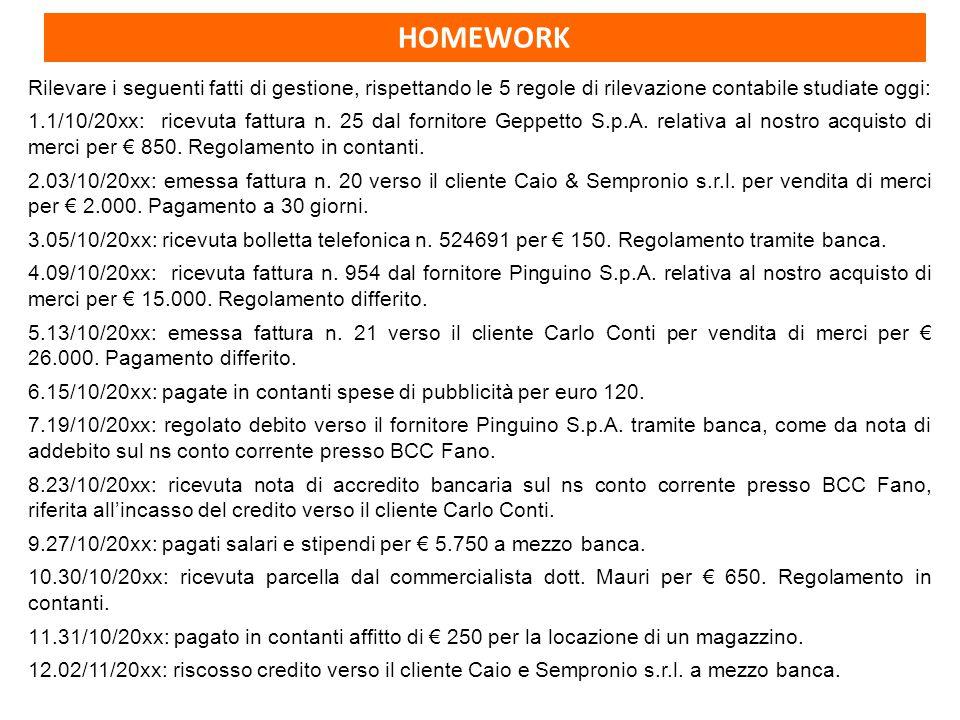 HOMEWORK Rilevare i seguenti fatti di gestione, rispettando le 5 regole di rilevazione contabile studiate oggi: 1.1/10/20xx: ricevuta fattura n.