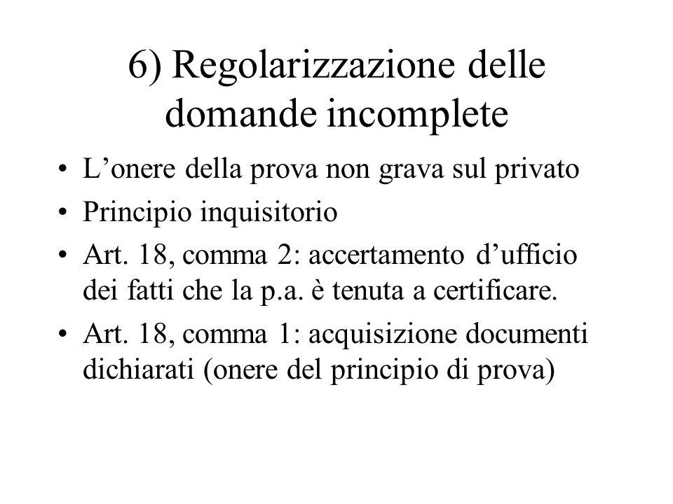6) Regolarizzazione delle domande incomplete L'onere della prova non grava sul privato Principio inquisitorio Art. 18, comma 2: accertamento d'ufficio