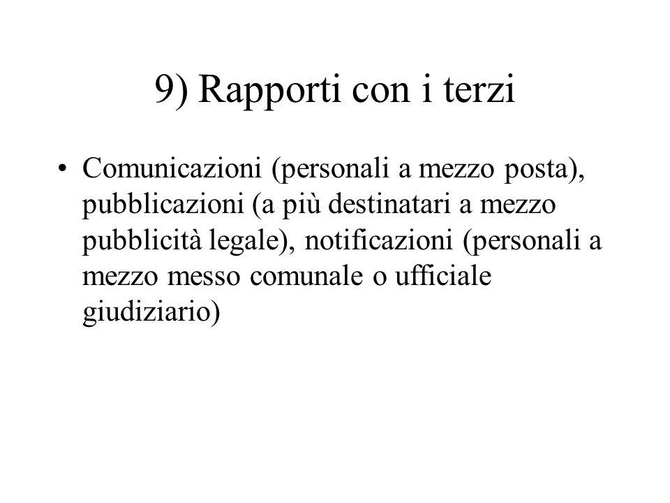 9) Rapporti con i terzi Comunicazioni (personali a mezzo posta), pubblicazioni (a più destinatari a mezzo pubblicità legale), notificazioni (personali
