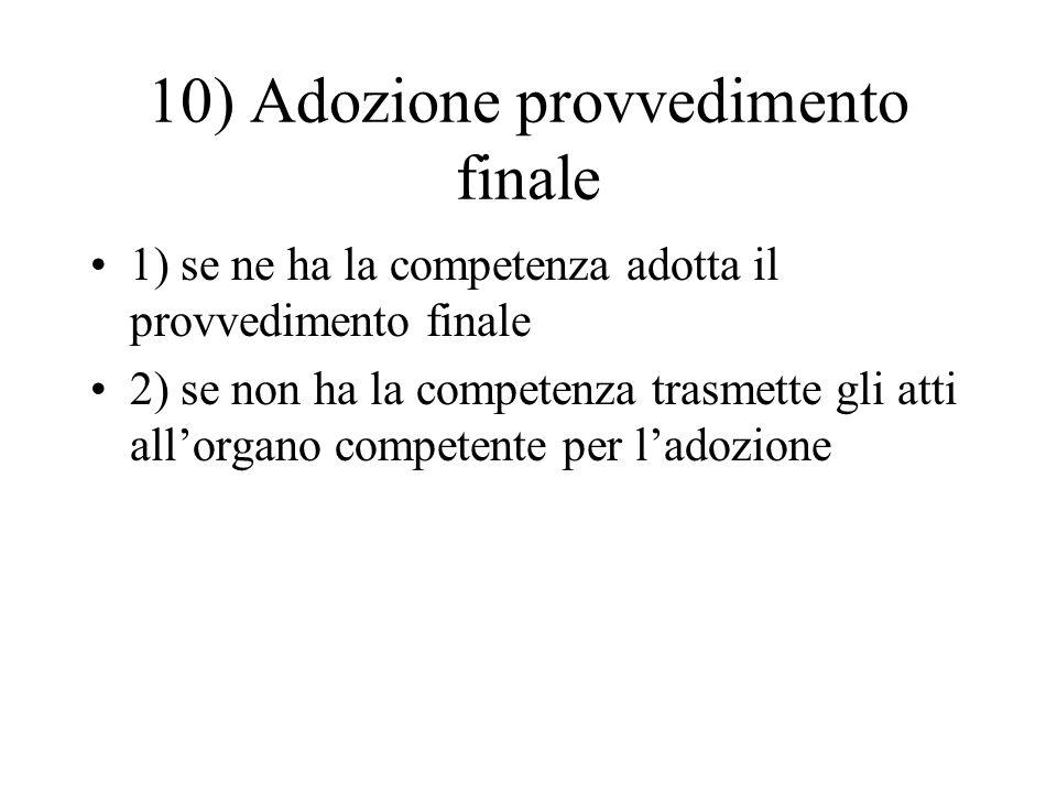 10) Adozione provvedimento finale 1) se ne ha la competenza adotta il provvedimento finale 2) se non ha la competenza trasmette gli atti all'organo co