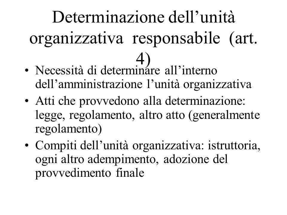 Determinazione dell'unità organizzativa responsabile (art. 4) Necessità di determinare all'interno dell'amministrazione l'unità organizzativa Atti che