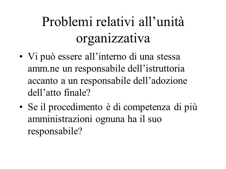 Problemi relativi all'unità organizzativa Vi può essere all'interno di una stessa amm.ne un responsabile dell'istruttoria accanto a un responsabile de