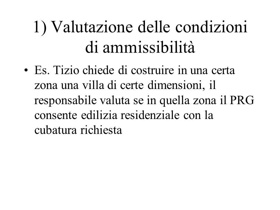 1) Valutazione delle condizioni di ammissibilità Es. Tizio chiede di costruire in una certa zona una villa di certe dimensioni, il responsabile valuta