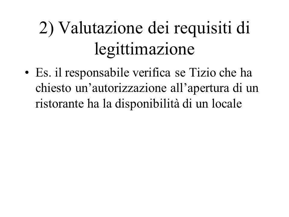 2) Valutazione dei requisiti di legittimazione Es. il responsabile verifica se Tizio che ha chiesto un'autorizzazione all'apertura di un ristorante ha