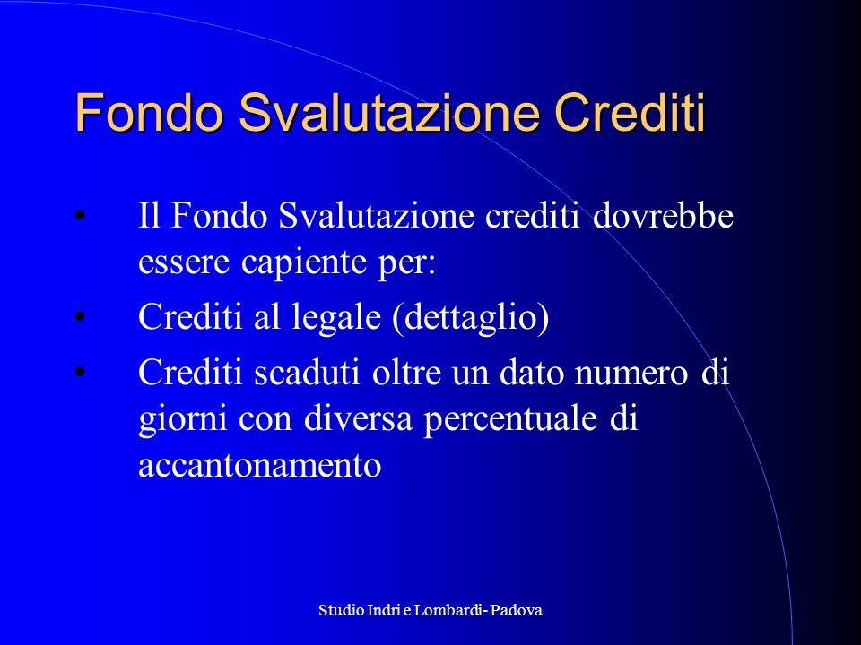 Studio Indri e Lombardi- Padova Fondo Svalutazione Crediti Il Fondo Svalutazione crediti dovrebbe essere capiente per: Crediti al legale (dettaglio) Crediti scaduti oltre un dato numero di giorni con diversa percentuale di accantonamento