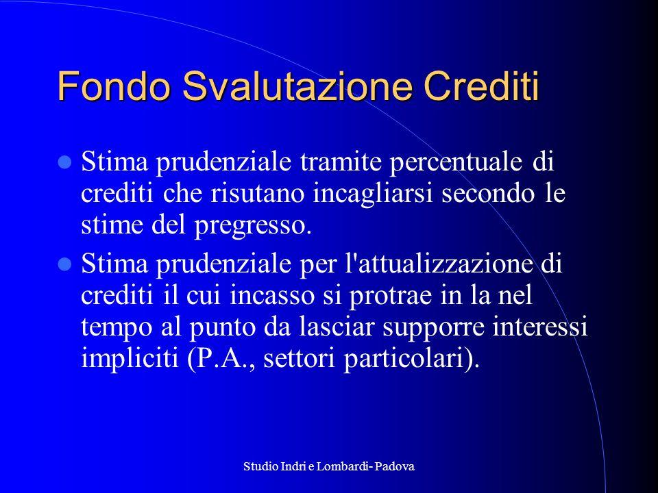 Studio Indri e Lombardi- Padova Fondo Svalutazione Crediti Stima prudenziale tramite percentuale di crediti che risutano incagliarsi secondo le stime del pregresso.