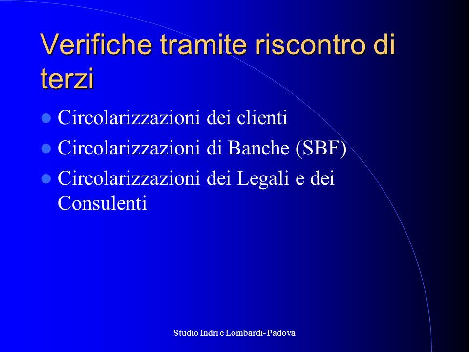 Studio Indri e Lombardi- Padova Verifiche tramite riscontro di terzi Circolarizzazioni dei clienti Circolarizzazioni di Banche (SBF) Circolarizzazioni dei Legali e dei Consulenti
