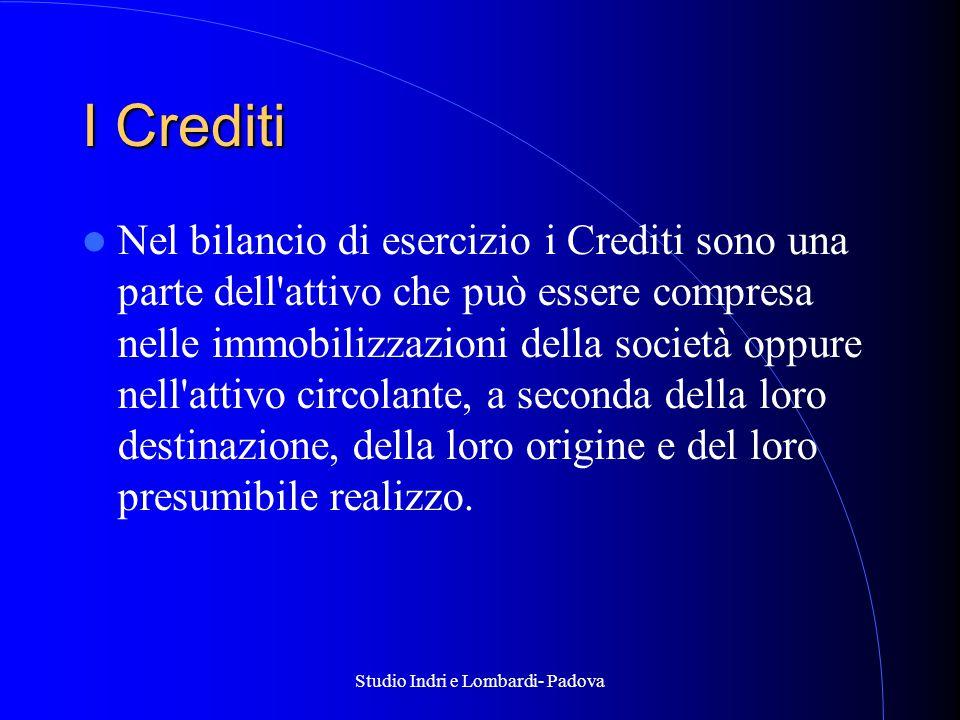 Studio Indri e Lombardi- Padova I Crediti Nel bilancio di esercizio i Crediti sono una parte dell attivo che può essere compresa nelle immobilizzazioni della società oppure nell attivo circolante, a seconda della loro destinazione, della loro origine e del loro presumibile realizzo.