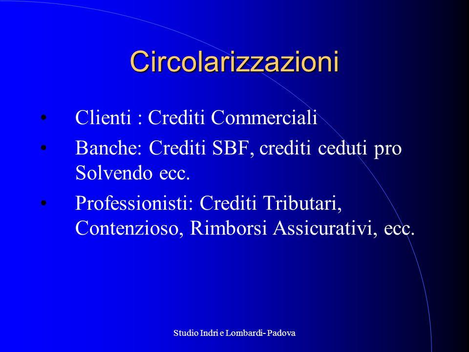 Studio Indri e Lombardi- Padova Circolarizzazioni Clienti : Crediti Commerciali Banche: Crediti SBF, crediti ceduti pro Solvendo ecc.
