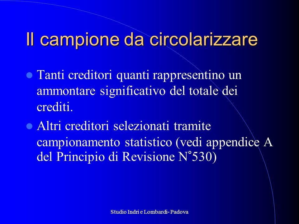 Studio Indri e Lombardi- Padova Il campione da circolarizzare Tanti creditori quanti rappresentino un ammontare significativo del totale dei crediti.