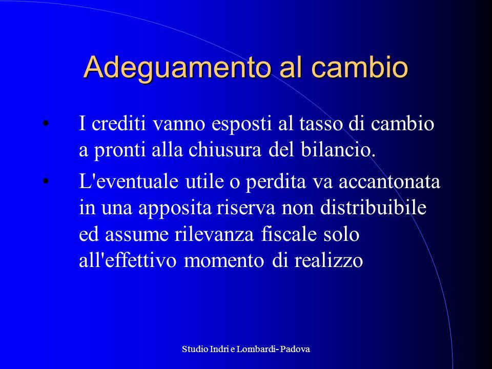 Studio Indri e Lombardi- Padova Adeguamento al cambio I crediti vanno esposti al tasso di cambio a pronti alla chiusura del bilancio.
