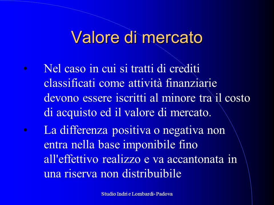 Studio Indri e Lombardi- Padova Valore di mercato Nel caso in cui si tratti di crediti classificati come attività finanziarie devono essere iscritti al minore tra il costo di acquisto ed il valore di mercato.
