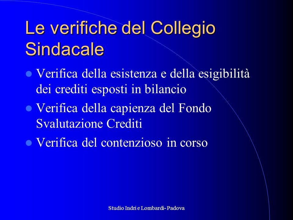 Studio Indri e Lombardi- Padova Le verifiche del Collegio Sindacale Verifica della esistenza e della esigibilità dei crediti esposti in bilancio Verifica della capienza del Fondo Svalutazione Crediti Verifica del contenzioso in corso