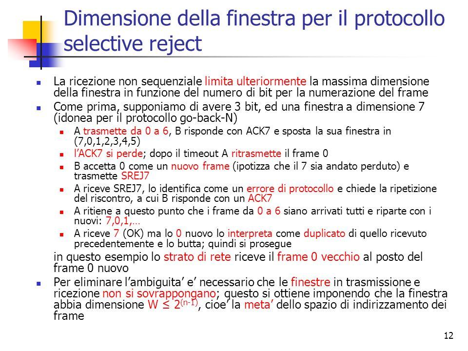 12 Dimensione della finestra per il protocollo selective reject La ricezione non sequenziale limita ulteriormente la massima dimensione della finestra