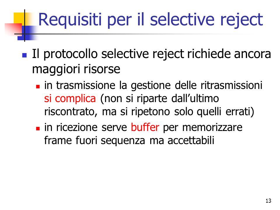 13 Requisiti per il selective reject Il protocollo selective reject richiede ancora maggiori risorse in trasmissione la gestione delle ritrasmissioni