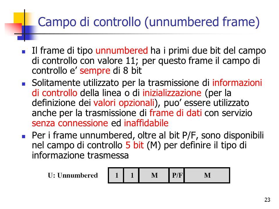 23 Campo di controllo (unnumbered frame) Il frame di tipo unnumbered ha i primi due bit del campo di controllo con valore 11; per questo frame il camp