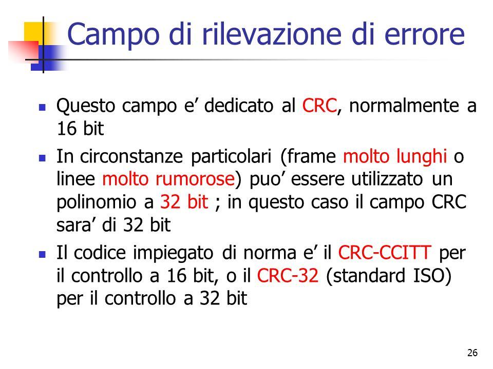 26 Campo di rilevazione di errore Questo campo e' dedicato al CRC, normalmente a 16 bit In circonstanze particolari (frame molto lunghi o linee molto