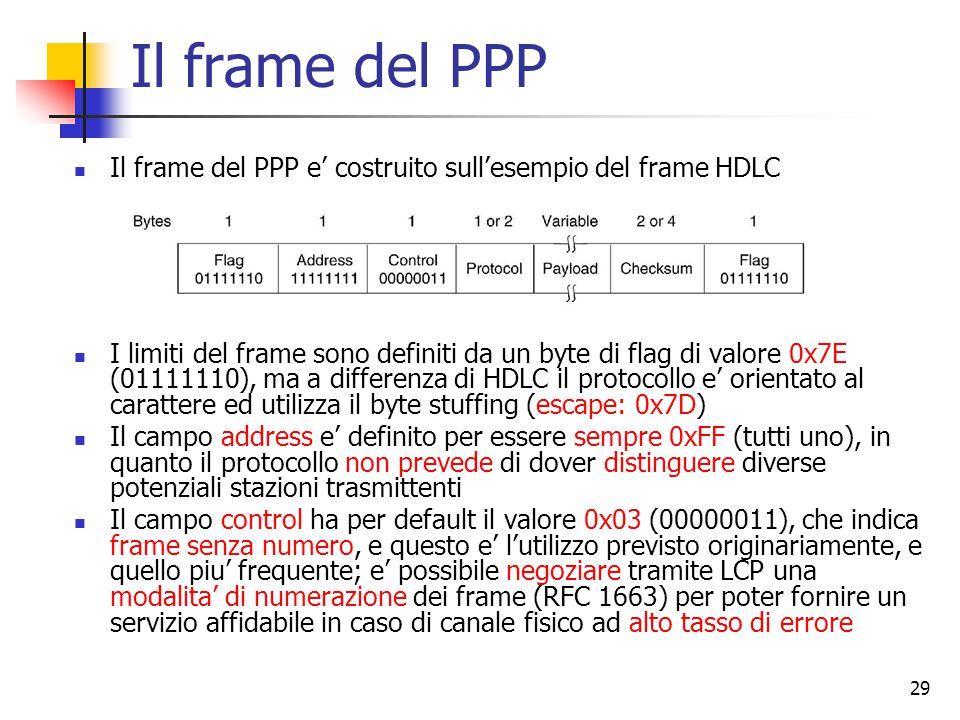 29 Il frame del PPP Il frame del PPP e' costruito sull'esempio del frame HDLC I limiti del frame sono definiti da un byte di flag di valore 0x7E (0111