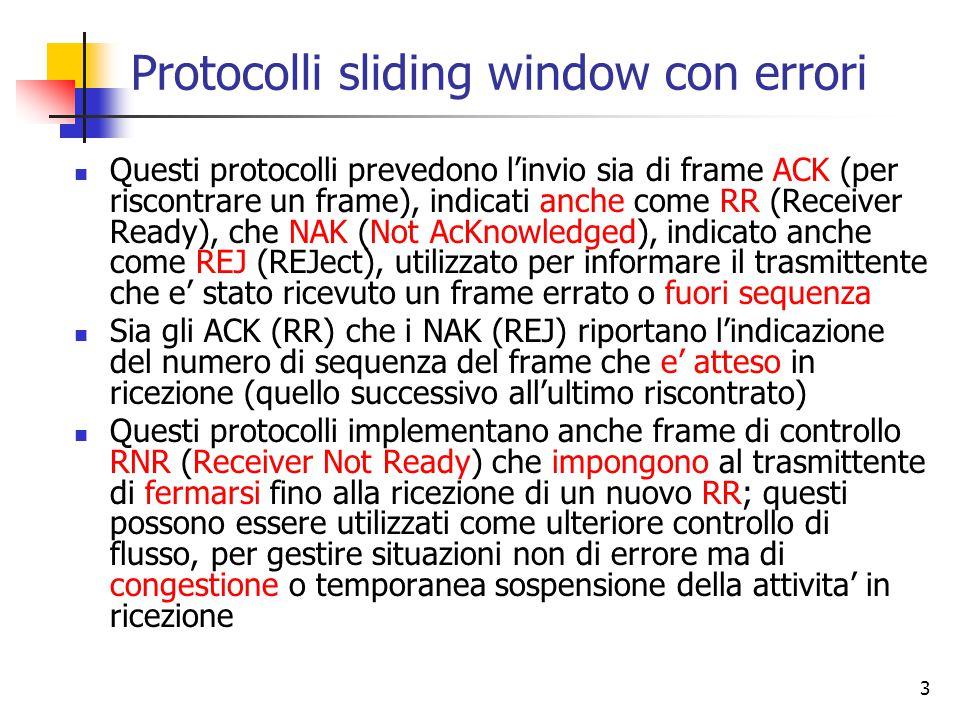 3 Protocolli sliding window con errori Questi protocolli prevedono l'invio sia di frame ACK (per riscontrare un frame), indicati anche come RR (Receiv
