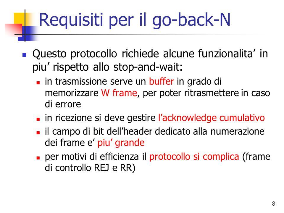 8 Requisiti per il go-back-N Questo protocollo richiede alcune funzionalita' in piu' rispetto allo stop-and-wait: in trasmissione serve un buffer in g