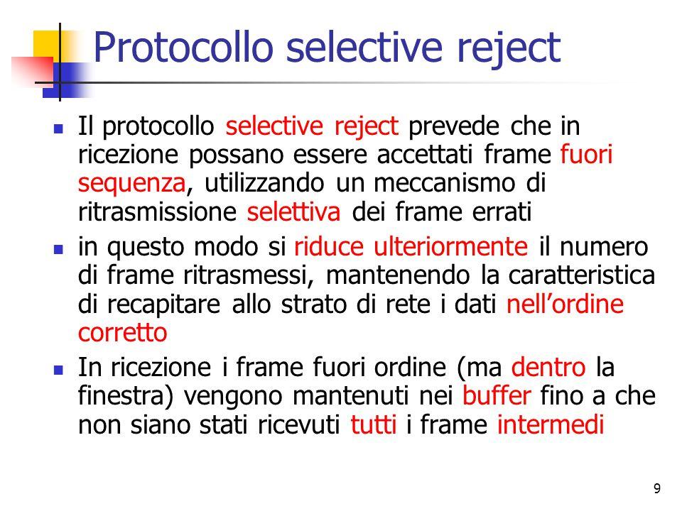 9 Protocollo selective reject Il protocollo selective reject prevede che in ricezione possano essere accettati frame fuori sequenza, utilizzando un me