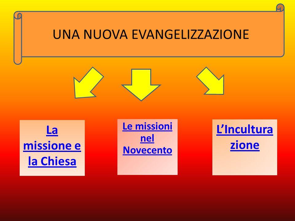 La missione e la Chiesa L'Incultura zione Le missioni nel Novecento UNA NUOVA EVANGELIZZAZIONE