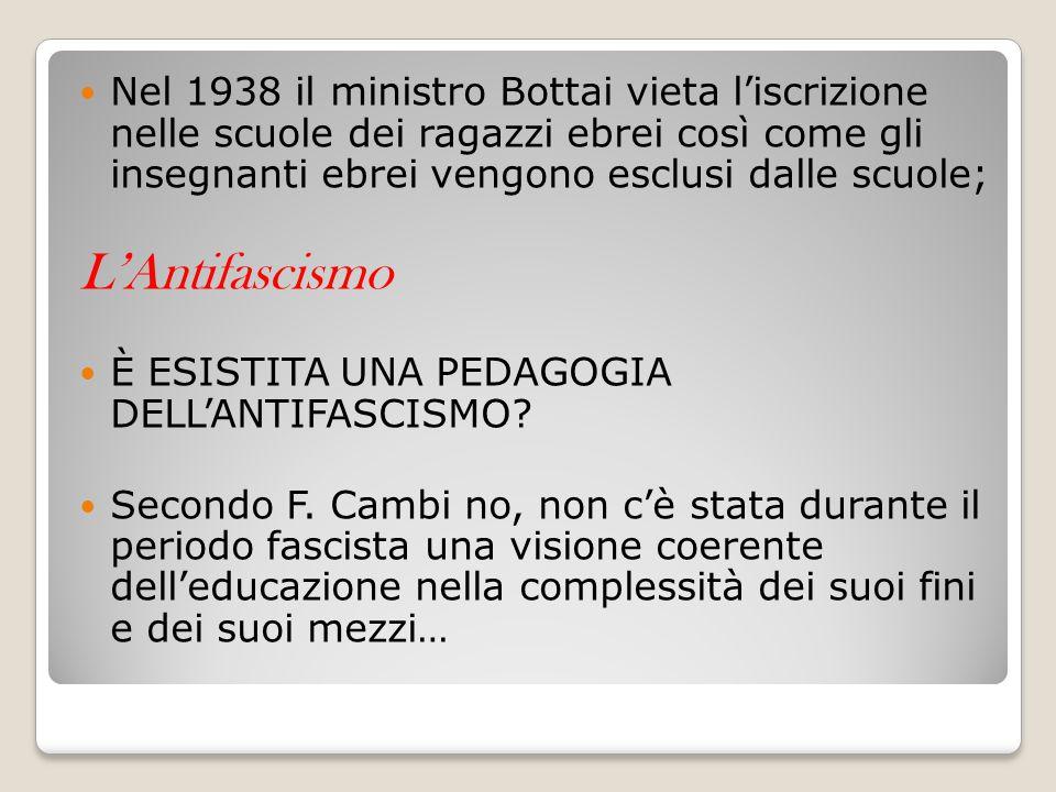 Nel 1938 il ministro Bottai vieta l'iscrizione nelle scuole dei ragazzi ebrei così come gli insegnanti ebrei vengono esclusi dalle scuole; L'Antifasci