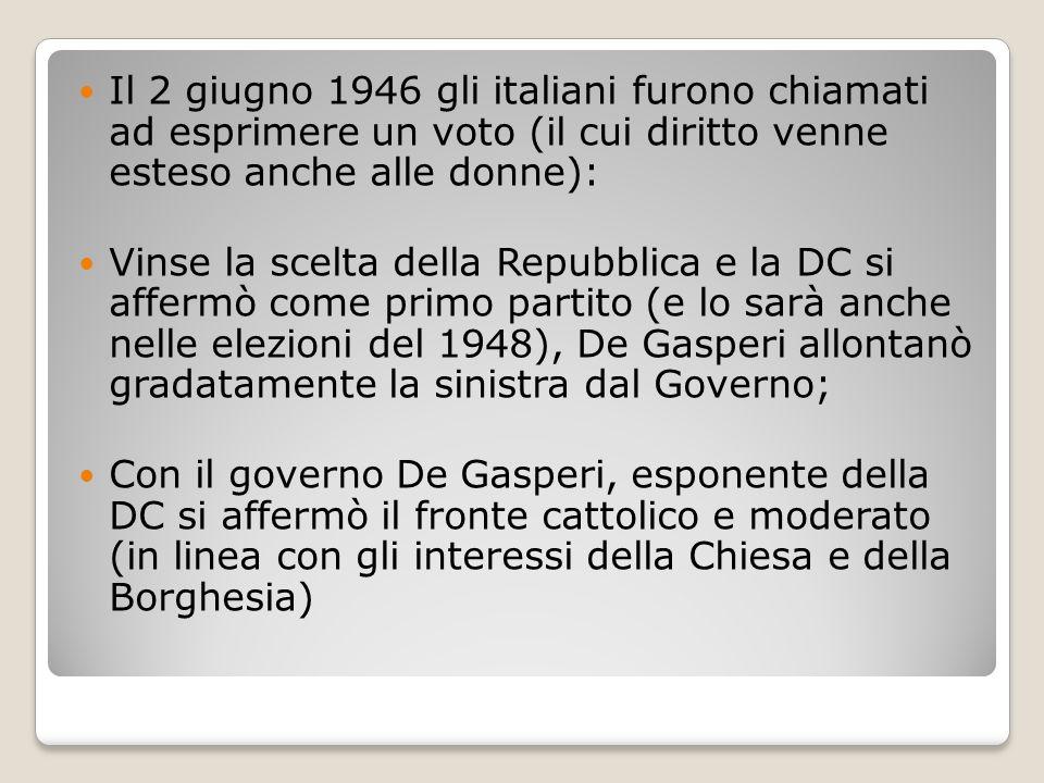 Il 2 giugno 1946 gli italiani furono chiamati ad esprimere un voto (il cui diritto venne esteso anche alle donne): Vinse la scelta della Repubblica e