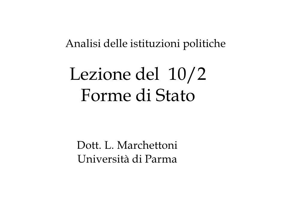 Lezione del 10/2 Forme di Stato Analisi delle istituzioni politiche Dott.