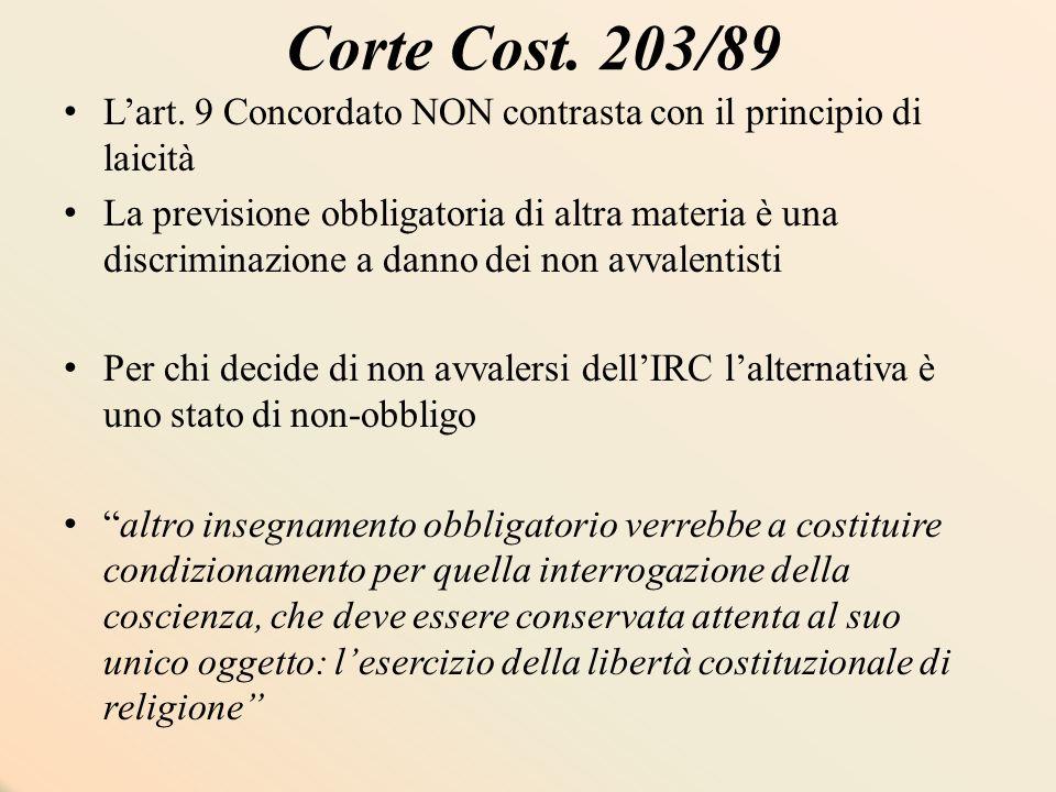 Corte Cost. 203/89 L'art. 9 Concordato NON contrasta con il principio di laicità La previsione obbligatoria di altra materia è una discriminazione a d