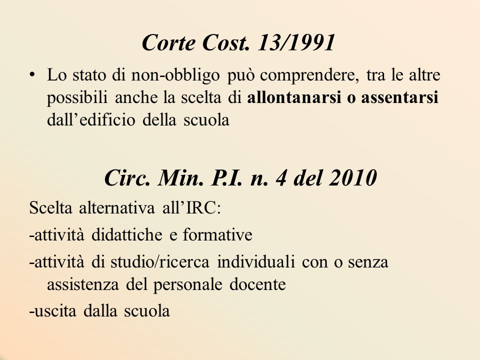 Corte Cost. 13/1991 Lo stato di non-obbligo può comprendere, tra le altre possibili anche la scelta di allontanarsi o assentarsi dall'edificio della s