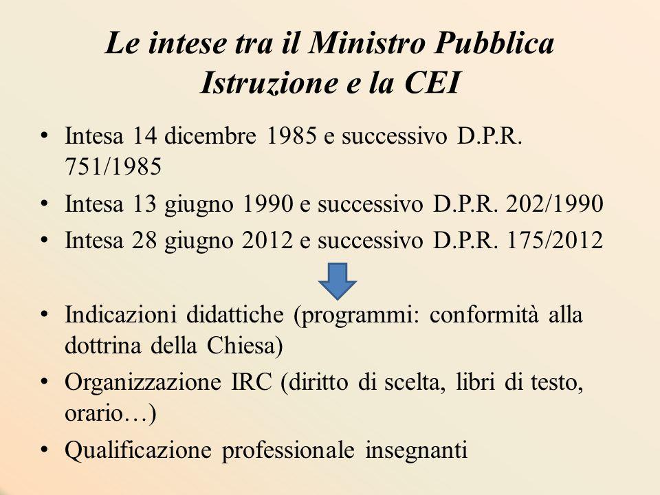 Le intese tra il Ministro Pubblica Istruzione e la CEI Intesa 14 dicembre 1985 e successivo D.P.R. 751/1985 Intesa 13 giugno 1990 e successivo D.P.R.