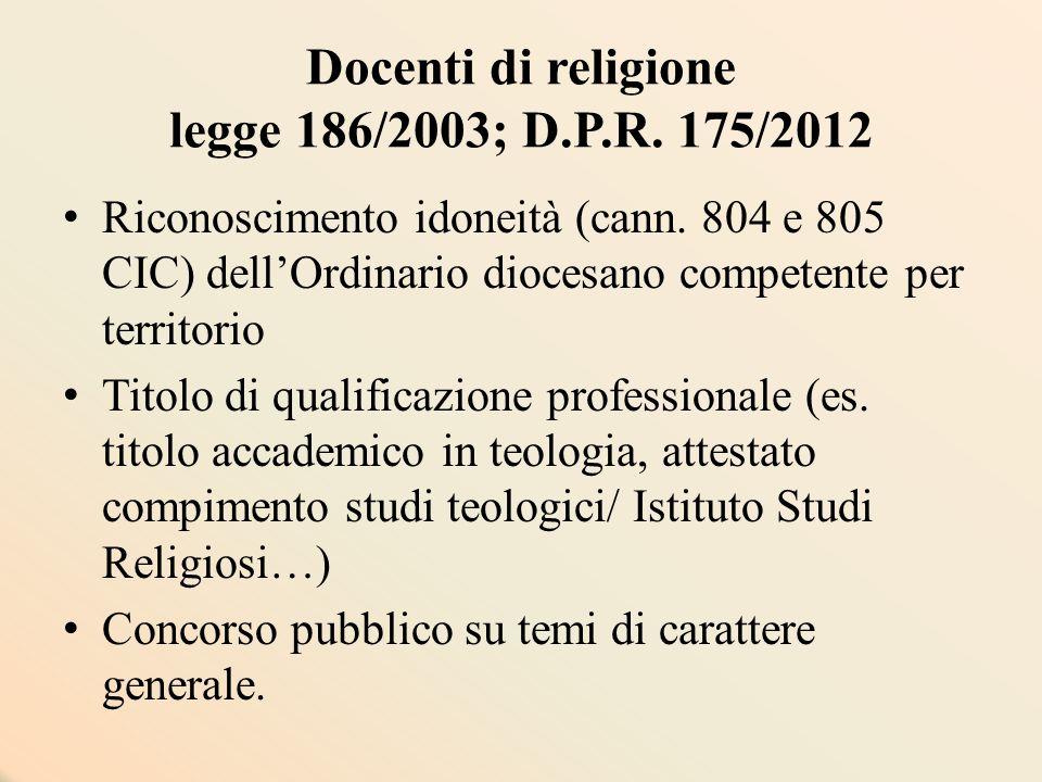 Docenti di religione legge 186/2003; D.P.R. 175/2012 Riconoscimento idoneità (cann. 804 e 805 CIC) dell'Ordinario diocesano competente per territorio