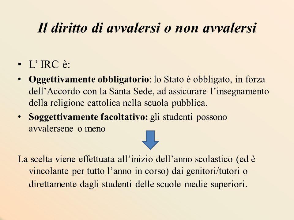 Il diritto di avvalersi o non avvalersi L' IRC è: Oggettivamente obbligatorio: lo Stato è obbligato, in forza dell'Accordo con la Santa Sede, ad assic