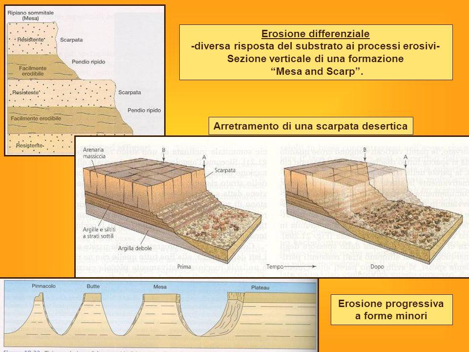 Arretramento di una scarpata desertica Erosione differenziale -diversa risposta del substrato ai processi erosivi- Sezione verticale di una formazione Mesa and Scarp .