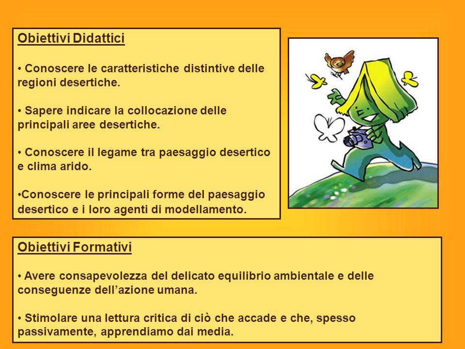 Obiettivi Didattici Conoscere le caratteristiche distintive delle regioni desertiche.