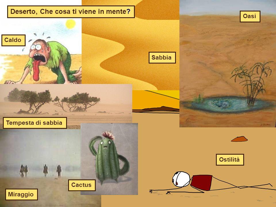 Deserto, Che cosa ti viene in mente? Caldo Sabbia Oasi Ostilità Miraggio Tempesta di sabbia Cactus