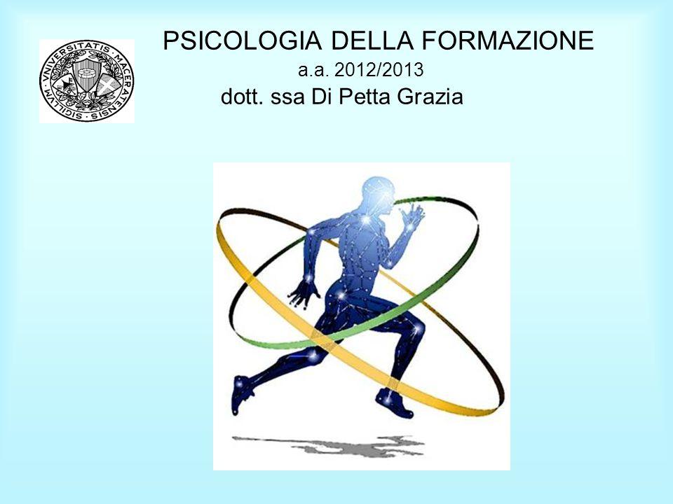 PSICOLOGIA DELLA FORMAZIONE a.a. 2012/2013 dott. ssa Di Petta Grazia