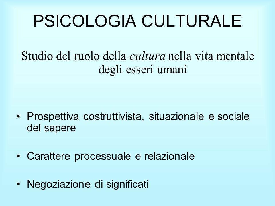 PSICOLOGIA CULTURALE Studio del ruolo della cultura nella vita mentale degli esseri umani Prospettiva costruttivista, situazionale e sociale del sapere Carattere processuale e relazionale Negoziazione di significati