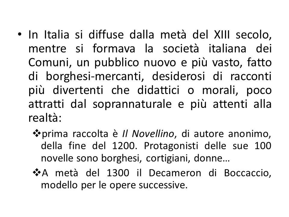 Tra 1600 e 1700 scarsa diffusione Nel 1800 nacque il RACCONTO, che si sviluppa insieme al romanzo.