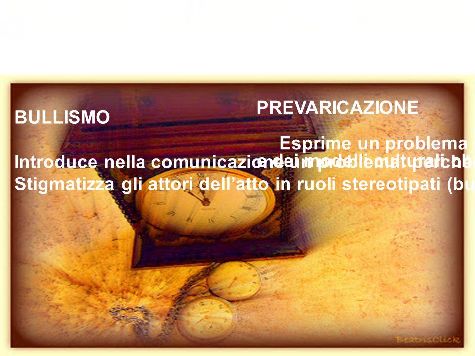 L'idea (1999-2002) BULLISMO Introduce nella comunicazione un problema: perché? Stigmatizza gli attori dell'atto in ruoli stereotipati (bullo, vittima,